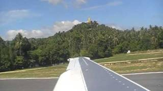 Take Off Koh Samui Airport Thai Airways B737-400 To Bangkok TG282