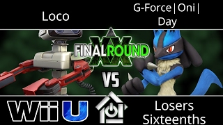 Final Round XX – Loco (ROB) vs G-Force|Oni| Day (Lucario) – Smash 4 Losers Sixteenths