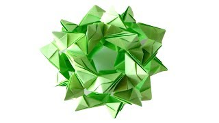 Шар кусудама из бумаги. Оригами украшение из бумаги