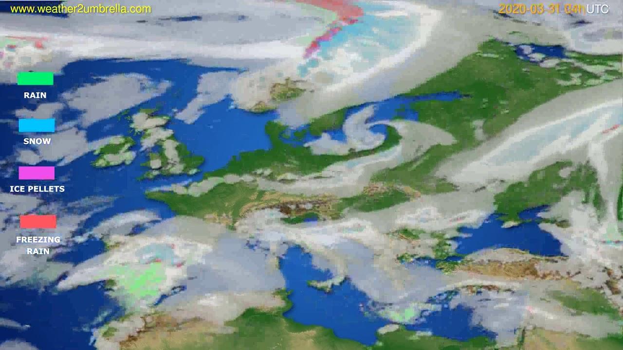 Precipitation forecast Europe // modelrun: 12h UTC 2020-03-30