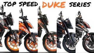 1. KTM 390 690 990 1290 duke series : Top speed