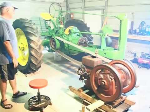 Hit & Miss  engine turning over  John Deere tractor