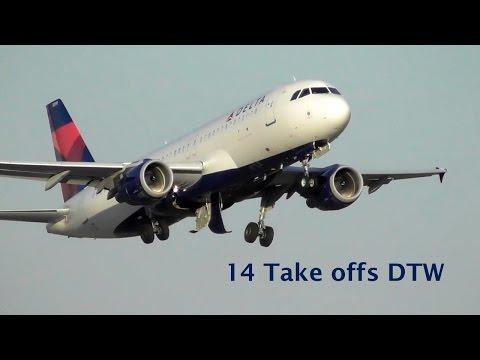 14 Take offs DTW Spotting - CRJ2, CRJ7, CRJ9, A320, A319, B757