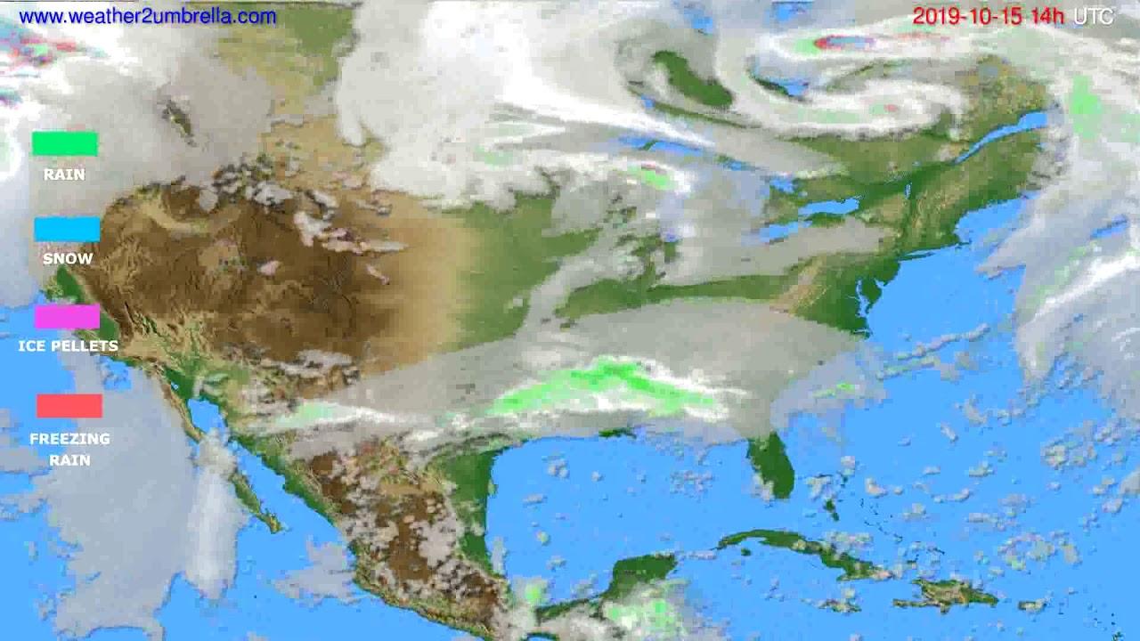 Precipitation forecast USA & Canada // modelrun: 12h UTC 2019-10-13