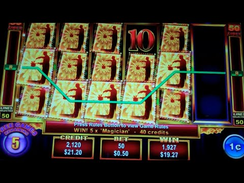 Triple Magic Slot Machine Bonus - 10 Free Games with Stacked Premium Symbols + Wilds - Big Win