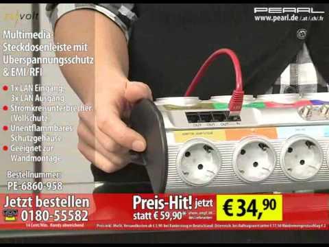 ReVolt Multimedia-Steckdosenleiste mit Überspannungsschutz & EMI/RFI
