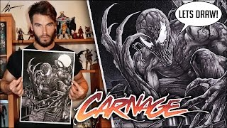 "Welcome to my art process video! Here I show you my steps from start to finish and a run down of the tools I use to create my art. I decided to draw the awesome Carnage from Marvel Comics for this video. Hope you enjoy it and please subscribe, comment and hit the thumbs up!  Cheers!Background music is ""Fluid Motion by Matrix off the DJ Dara ‎album Full Circle""."
