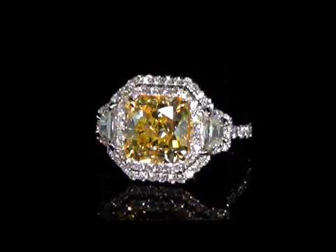 GIA Certified 3.01ct 'Internally Flawless' Fancy Yellow Diamond Ring