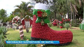 Material reciclável se transforma em decoração de Natal em Santa Cruz do Rio Pardo