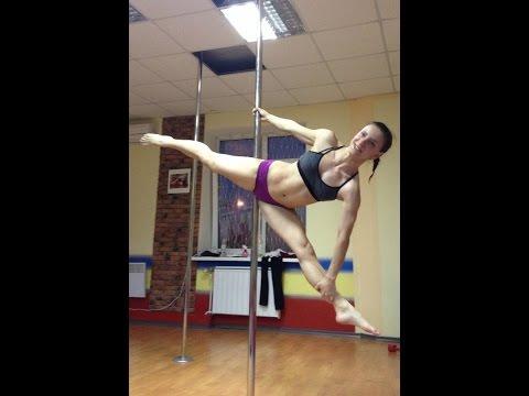 Танцы на пилоне: элемент продольный шпагат. Обучающее видео онлайн.