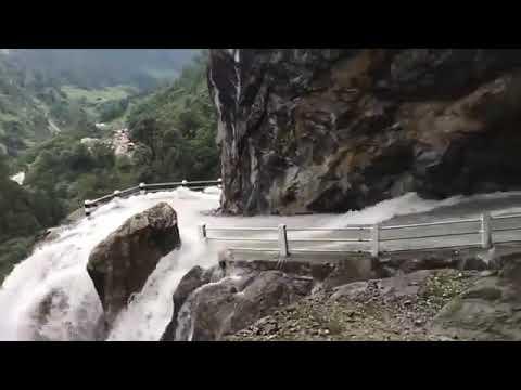 Waterfall road in Manang, Nepal