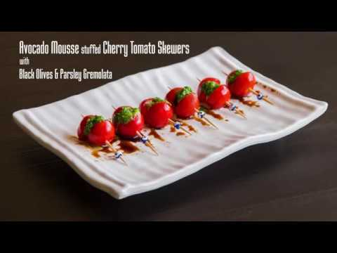 Easy Avocado stuffed Cherry Tomato Skewers with Black Olives & Parsley Gremolata