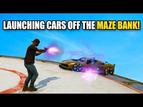 LAUNCHING CARS OFF THE MAZE BANK!   GTA 5 THUG LIFE #411