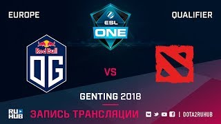 OG vs The Final Tribe, ESL One Genting EU Qualifier, game 2 [Maelstorm, LighTofHeaveN]