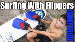 Surfing With Flippers On - Crazy Surfing