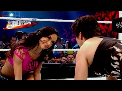 second - AJ Lee is featured in 30-Second Fury! Take a look at what makes her a game changer in the Divas division. More ACTION on WWE NETWORK : http://bit.ly/1u4pM74 Don't forget to SUBSCRIBE: http://bit.l...