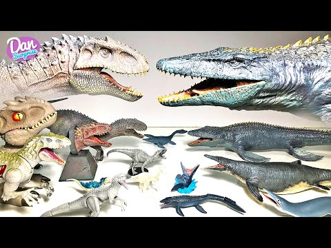 HUGE MOSASAURUS VS INDOMINUS REX COLLECTION! Jurassic World Dinosaur Toys and Action Figures!