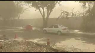 As fortes rajadas de vento que ocorreram sobre o Rio de Janeiro no começo da tarde de 14 de outubro de 2015 levantaram muita poeira de na região de uma ...