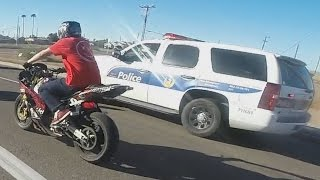 STREET BIKE VS POLICE Chase Motorcycle Stunts Riding Wheelies While Chased By Cops 2016 Video