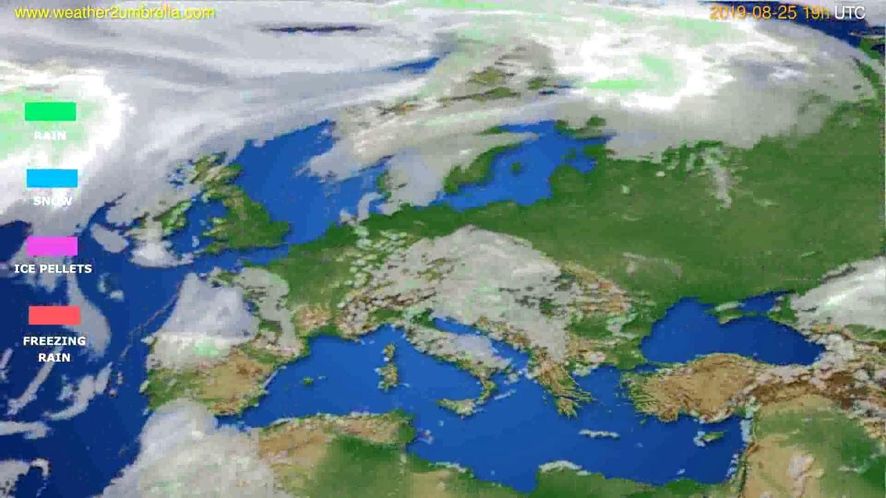 Precipitation forecast Europe // modelrun: 12h UTC 2019-08-22
