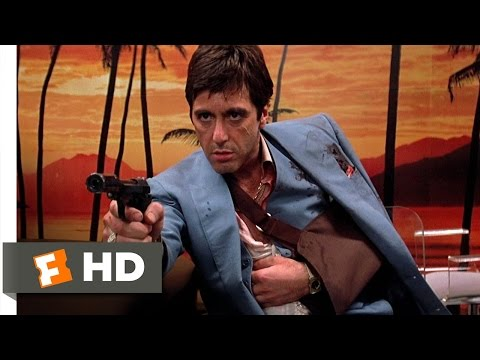 Tony Montana - Scarface Movie Clip - watch all clips http://j.mp/yFtoj3 click to subscribe http://j.mp/sNDUs5 Tony (Al Pacino) takes out Frank (Robert Loggia) and Mel (Harr...
