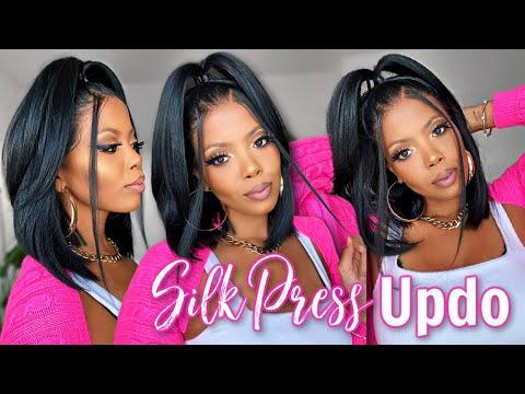 😱 $50 Extra SILKY TEXTURE Fresh Silk Press Updo?! 90s Inspired Half Up Half Down on Everyday Bob Wig