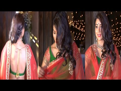 Hot Shriya Saran in Red Backless Saree
