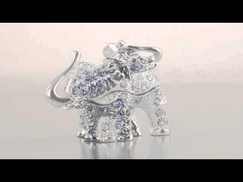 Silver-Blue elephant Faberge style Trinket Box by Keren Kopal Swarovski Crystal