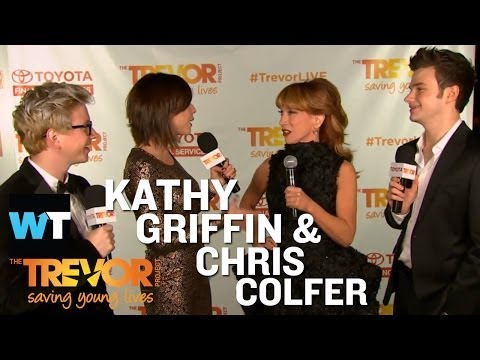 colfer - The Trevor Project's 15th Annual Trevor Live Gala- Host Kathy Griffin talks about her fabulous dress that *cough* Chris Colfer designed and shares that laugh...