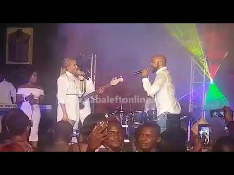 Banky W and Adesua Etomi sings together on stage