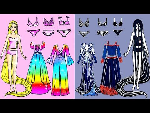 Paper Dolls Dress Up - Costumes Party Sadako & Rapunzel Dress Handmade - Barbie Story & Crafts