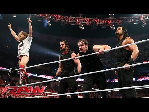 Raw - With the help of The Shield, WWE World Heavyweight Champion Daniel Bryan fights off Triple H, Batista, Randy Orton and Kane. http://www.wwe.com/wwenetwork.