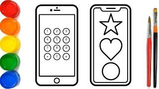 Glitter Mobile Phone Coloring Pages For Kids | Telepon Genggam Halaman Mewarnai
