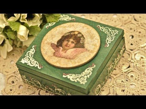 Decoupage krok po kroku - kasetka z aniołkiem