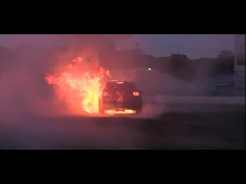 HSV Clubsport R8 erupts into flames doing donuts