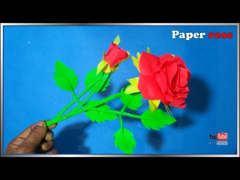 Make a  paper  rose flower step by step at home. creative paper flower.