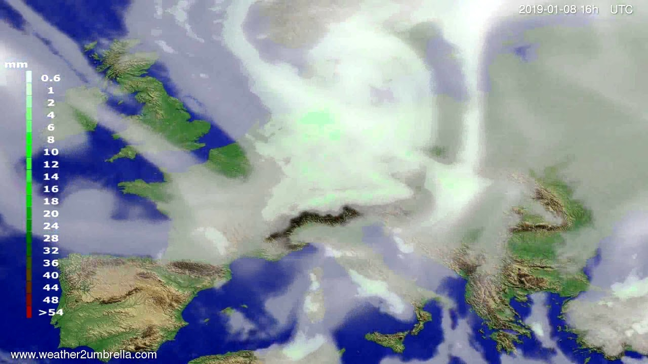 Precipitation forecast Europe 2019-01-04