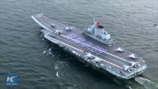 Exclusive: Aerial view of China's first aircraft carrier Liaoning in Hong Kong. A flotilla including the Liaoning arrived in Hong Kong on Friday for a visit. At 7:20 ...