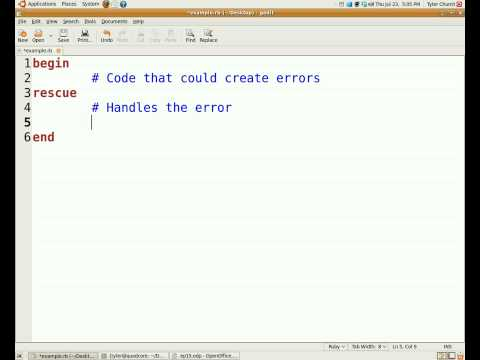 Programming With Ruby Episode 15, Error Handling
