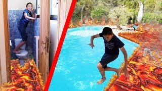 Video THE FLOOR IS LAVA CHALLENGE - LE SOL C'EST DE LA LAVE ! 🔥 - DANS NOTRE MAISON DE VACANCES ☀️ MP3, 3GP, MP4, WEBM, AVI, FLV Oktober 2017