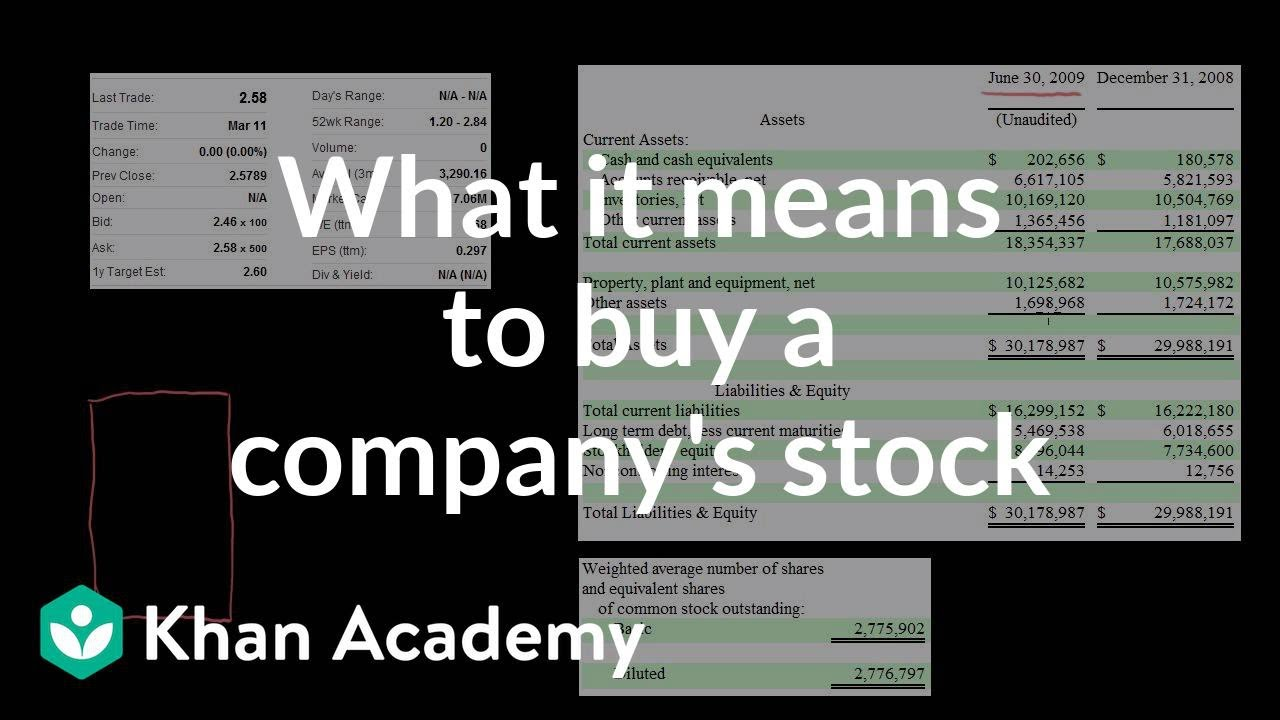 Video: What does it mean to buy a company's stock?