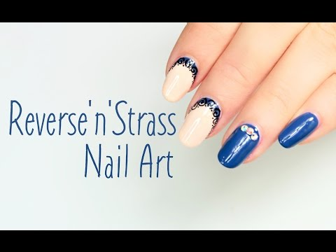 nail art - reverse french con strass