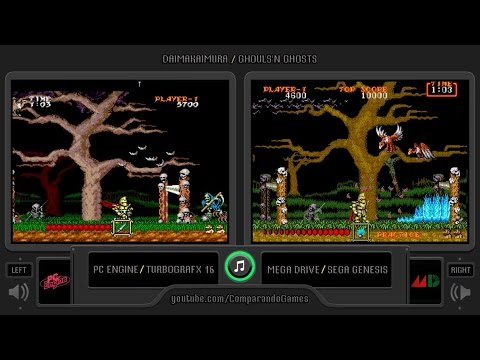 Ghouls'n Ghosts (Pc Engine Sg vs Mega Drive/ Genesis) Side by Side Comparison ( 大魔界村/ Daimakaimura)