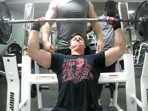 225 for 6 Seated Overhead press while E shows off his huge guns!!