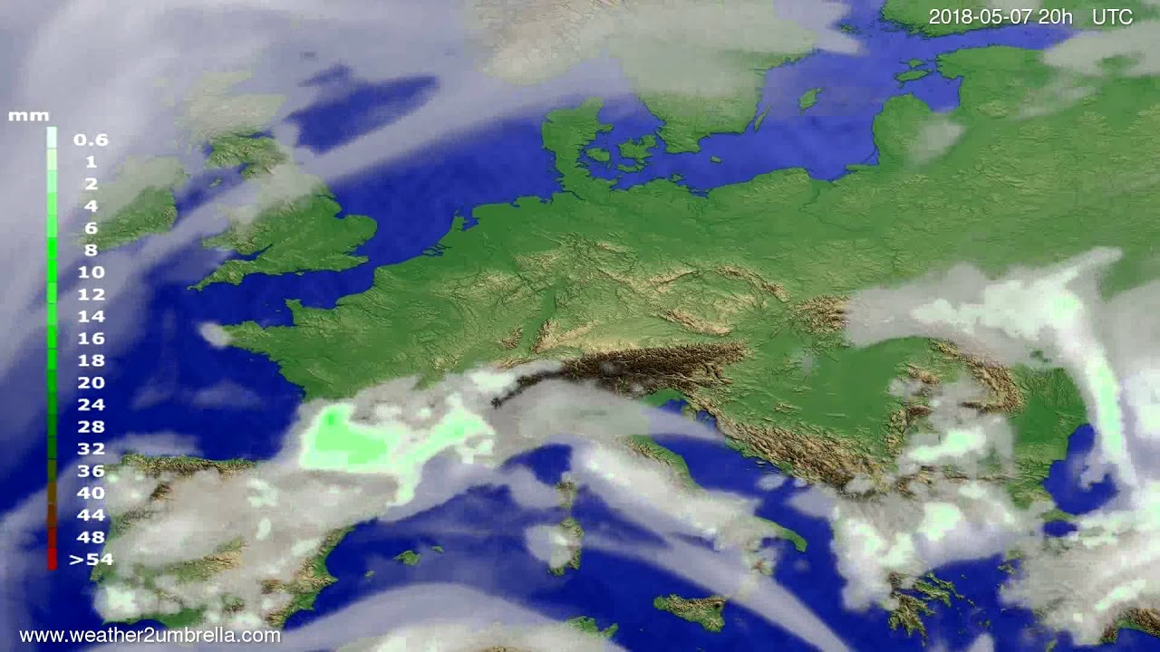 Precipitation forecast Europe 2018-05-05
