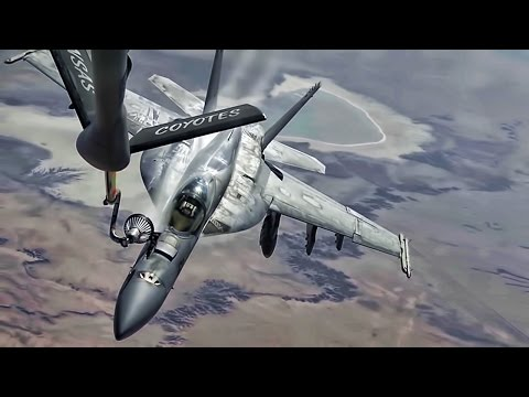 Aerial refueling footage of a B-1B...