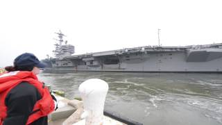 USS H. W. BUSH CVN 77 ISLAND FROM PIER/FAMILYS POV OF PULLING OUT UNITED STATES 01.21.2017 Video by Robert ...