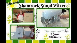 "Join Amy for an unboxing of the Shamrock Stand Mixer. This mixer is a 6 quart tilt head with 700 watts. It is available in white, red, black, and silver. This stand mixer comes with paddle, dough hook, and whip attachments. It also has a splash guard and a hub with optional attachments such as a meat grinder and pasta maker. Stay tuned for my full test & review of the Shamrock Stand Mixer. Shamrock Stand Mixer:http://amzn.to/2tTUmGwAmy Learns to Cook is all about learning to make simple, tasty food from fresh ingredients.  One year ago, I made a commitment to stop eating processed convenience foods.  I decided to learn to cook ""real"" food. Join me!  Let's learn to cook together! Enjoy! Please share!Please SUBSCRIBE to my channel, LIKE, and leave a COMMENT.Please visit my website: www.amylearnstocook.comAny links in this description, including Amazon, are affiliate links.I received this product free of charge in exchange for my honest review."