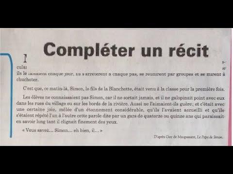 Francais L44 collège 1ère année,compléter un récit