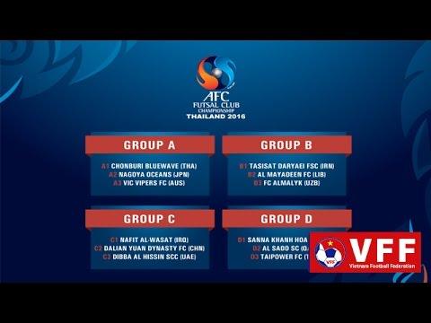 BỐC THĂM CHIA BẢNG AFC FUTSAL CLUB 2016: VIỆT NAM GẶP KHÓ